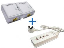 Addon 500Mbps Powerline Starter Kit + 4 Ports USB Smart Charger - UK Plug